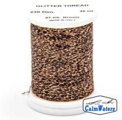 Glitter Thread Dark Brown bobina di filato per mosche camole larve chironomo per la pesca ai coregoni lavarelli agoni sarde sardelle artificiali flyfishing renken