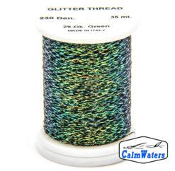 Glitter Thread Dark Green bobina di filato per mosche camole larve chironomo per la pesca ai coregoni lavarelli agoni sarde sardelle artificiali flyfishing renken