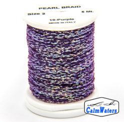 Pearl Braid Purple bobina di filato per mosche camole larve chironomo per la pesca ai coregoni lavarelli agoni sarde sardelle artificiali flyfishing renken