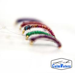 Amettiera multicolore in sintetico traslucido con brillantini glitter per una maggiore visibilità. Da usarsi nella fase esplorativo a inizio pescata, per capire su cosa si orientano le mangiate.